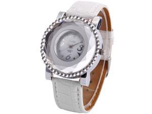 Dalas Women Fashion Crystal Lady White PU Leather Analog Bracelet Quartz Wrist Watch