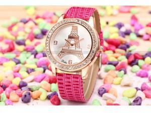 Dalas Rose Gold Case Crystal Eiffel Tower Lady Rose Red Quartz Dress Wrist Watch