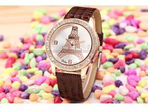 Dalas Rose Gold Crystal Eiffel Tower Ladies Women Coffee Leather Quartz Wrist Watch