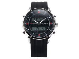 EYKI Mens Black Dual Time LCD Rubber Chronograph Date Alarm Sport Quartz Watch EKI067
