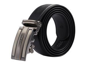 KS Mens Black Leather Dress Suit Business Belt with Stainless Steel Auto Lock Buckle
