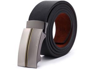 KS Men Black Genuine Leather Auto Lock Buckle Belt Fit 20-49 inch Adjustable KB033