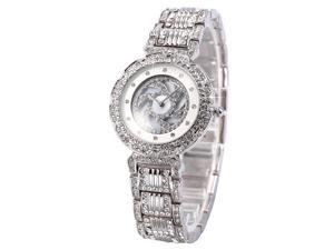 WEIQIN Silver Crystal Rotating Dial MOP Lady Women Bracelet Quartz Wrist Watch WQI075