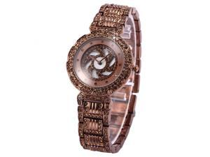 WEIQIN Bling Crystal Rotating Dial MOP Lady Women Brown Bracelet Quartz Wrist Watch WQI076