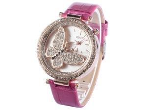 Rose Gold Case Crystal Bezel Butterfly Purple Leather Analog Lady Womens Wrist Watch WK1098