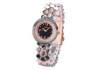 WEIQIN Black Dial Crystal Stainless Steel Lady Women Fabulous Quartz Wrist Watch WQI055