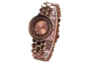 WEIQIN Lady Women Brown Dial Crystal Stainless Steel Awesome Quartz Wrist Watch WQI056