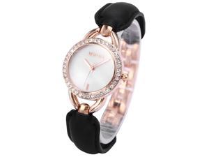 WEIQIN Crystal Mother of Pearl Dial Lady Black Bracelet Fabulous Quartz Watch WQI049