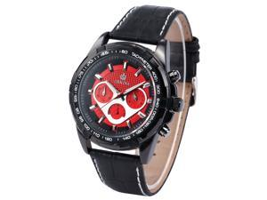 0Men's Luxury Stopwatch Chronograph Analog Red Dial Dress Quartz Wrist Watch ORK131