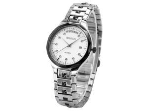 WEIQIN Charm Crystal Men's Womens White Dial Stainless Steel Band Quartz Wrsit Watch WQI065