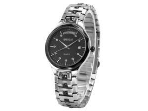 WEIQIN Classic Crystal Lady Mens Date Day Stainless Steel Band Quartz Wrist Watch WQI066