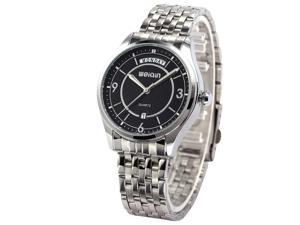 WEIQIN Black Dial Mens Date Day Analog Stainless Steel Band Quartz Wrist Watch WQI064