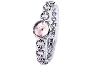 KIMIO Elegant Pink Dial Love Heart Bracelet Analog Lady Crystal Steel Wrist Watch KIM040