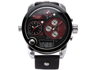 SHARK Red Men Digital LCD Oversized Dial Leather Sport Army Quartz Watch SH120