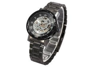 Classic Transparent Men Black Dial Skeleton Mechanical Gunmetal Steel Wrist Watch PMW236