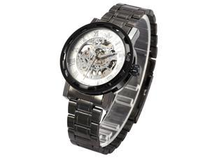 Men's Transparent Dial Military White Dial Skeleton Mechanical Gunmetal Steel Watch PMW237