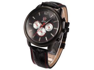 Ganges SHARK SH096 Mens 6 Hands Date Day Black Red Sport Leather Quartz Wrist Watch