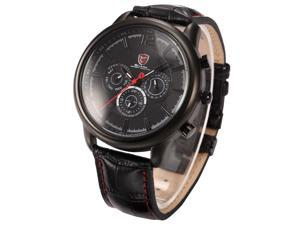 Shark Stainless Steel Case Date Day Display Black Dial Leather Men Wrist Watch SH097