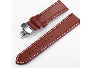 KS Luxury 24mm Genuine Brown Leather Deployment Clasp Watch Band Strap WB2411