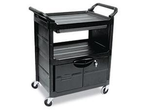 Utility Cart w/Locking Doors, 2-Shelf, 33-5/8w x 18-5/8d x 37-3/4h, Black