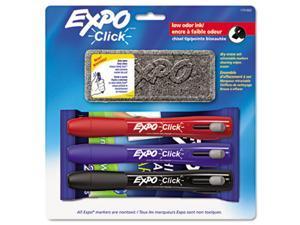 Click Dry Erase Marker Starter Set, Eraser/Wipes/Markers, Chisel, Asstd, 3/Set