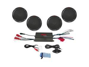 "Pyle 4-Channel 800W Waterproof Micro Marine Amplifier & 6.5"" Speaker System - Black (PLMRKT4B)"