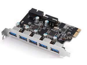 UtechSmart Superspeed USB 3.0 PCI-E Express Card with 7 USB 3.0 Ports and 5V 4-Pin Power Connector for Desktops [5 Port Outside ...