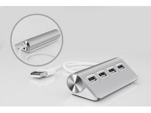 "UtechSmart Premium 4-Port Aluminum USB Hub (11.5"" Cable) for iMac, MacBook Air, MacBook Pro, MacBook, Mac Mini - Silver"