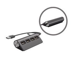 "UtechSmart Premium 4 Port Aluminum USB Hub (11.5"" cable) for iMac, MacBook Air, MacBook Pro, MacBook, and Mac Mini - Black"