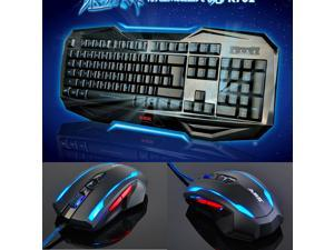 Ajazz LED Illuminated Ergonomic USB Wired Multimedia Blue Backlight Backlit Gaming Keyboard + 2400DPI 7D Ajazz Ray Eagle ...
