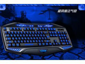 2014 NEW Arrival RAJFOO Nighthawk Backlit Multimedia Ergonomic Usb Gaming Keyboard with Blue/ Purple/ Red Changeable Lights ...
