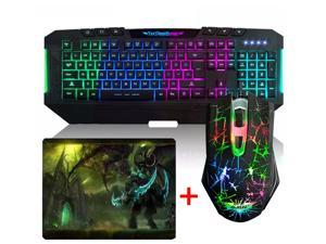 UrChoiceLtd® Ajazz AK20 7 Color LED Multimedia Backlight Gaming Keyboard + 800 / 1200 / 1600 / 2400DPI 6 Buttons Pro The Dark Knight Gaming Mouse + Gaming Mouse Pad with Gaming Mouse Combo Set