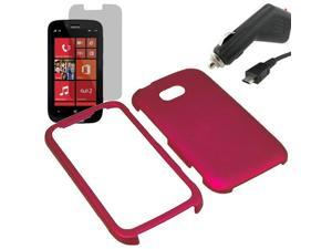 Rubberized Protector Snap On Hard Cover Case For Nokia Lumia 822 + LCD + Car Charger