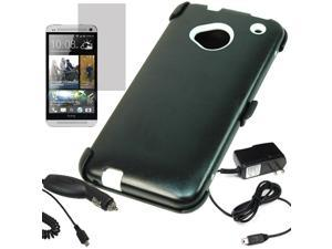 Armor Hard Shell Cover Holster Stand Combo Case HTC One LCD Car Home Charger