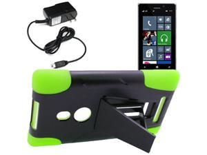Armor Hard Shell Stand Cover Case For TMobile Nokia Lumia 925 Travel Charger