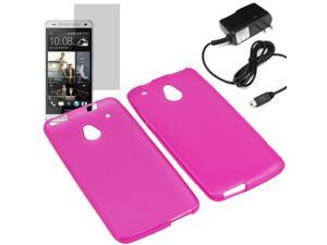 Crystal TPU Gel Skin Cover Case For ATT HTC One Mini LCD Home Charger