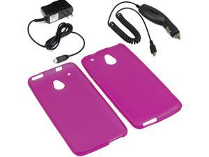Crystal TPU Gel Skin Cover Case For ATT HTC One Mini Car Home Charger