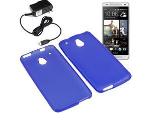 Crystal TPU Gel Skin Cover Case For ATT HTC One Mini Travel Charger