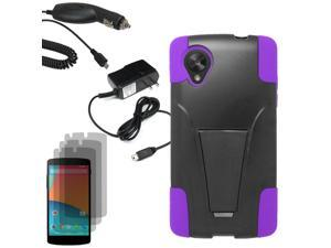 Armor Hard Shell Stand Case For LG Google Nexus 5 D820 3x LCD Car Home Charger