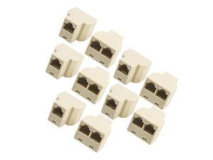 10 Pcs 3 Way RJ45 LAN Network Ethernet Splitter Connector Beige