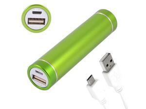 Green Cylindrical 2600mAh Portable Power Bank for Micro USB Phone Mp3