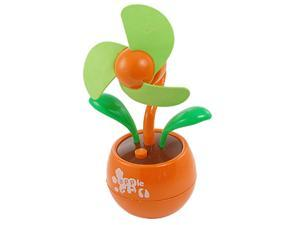 Apple Flower Shaped 3 AA Battery USB Desktop Fan Orange Green for PC Laptop