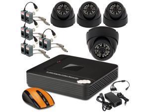 CCTV Surveillance Security Systems 4CH Mini Video CCTV Security DVR H.264 P2P + 4x Night Dome Camera 800TVL Home
