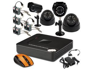 CCTV Surveillance Security System 4CH Mini Video CCTV Security DVR H.264 P2P + 4x Night Indoor Camera 800TVL