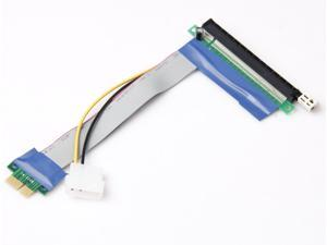 PCIE PCI-E 16X to 1X Adapter Riser Card Flex Flexible Extension Cable with Molex Power Connector