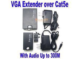 VGA 1x1 UTP Extender With Audio up to 300M via CAT5e/6 1920x1200 Gain Peak Adjust