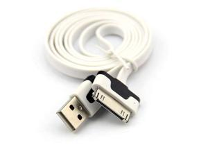 Baaqii CB058 White Flat 1M USB Charging Date Cord Cable for iPhone 4 4S iPad 1 2 3 iTouch Series