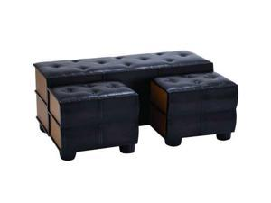 Chic And Modern Bench Set Of 3 With Comfort Leather by Benzara