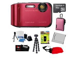 """Sony DSC-TF1/R 16 MP Waterproof Digital Camera with 2.7"""" LCD (Red) + 16GB Micro SDHC Memory Card + Replacement Battery Pack ..."""