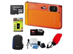 "Sony DSC-TX30/D 18 MP Digital Camera with 5x Optical Image Stabilized Zoom and 3.3"" OLED (Orange) + Accessory Kit"